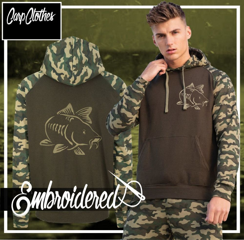 003 EMBROIDERED CONTRAST CAMO CARP HOODIE